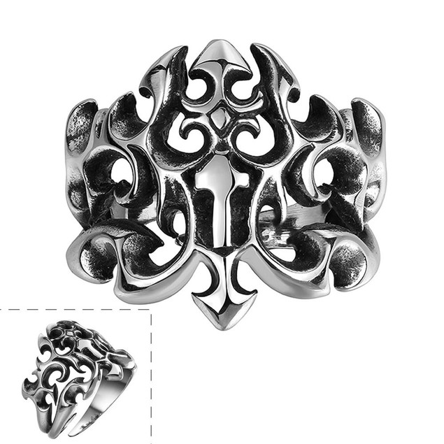 Abstract Hollow Shield Stainless Steel Ring