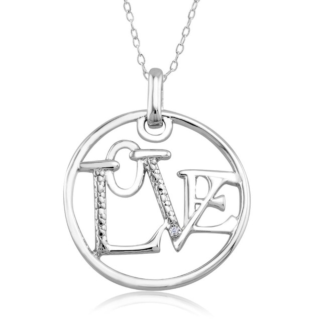 .10 Ct Diamond Accent Heart Necklace - Circle Love
