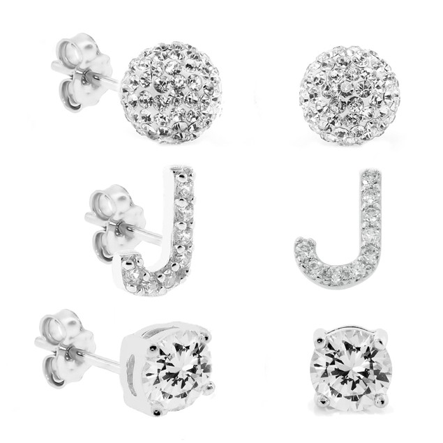 3-Piece Set: Initial Stud Earrings with Swarovski Elements - J
