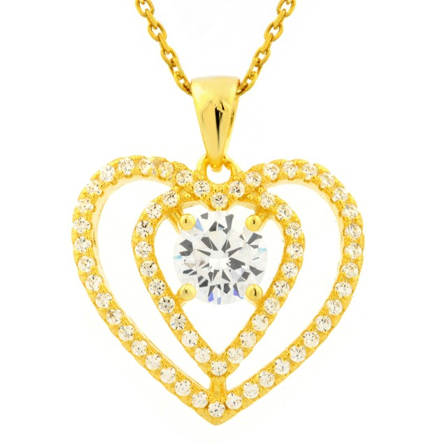 Simulated Diamond Interlocking Double Heart Pendant