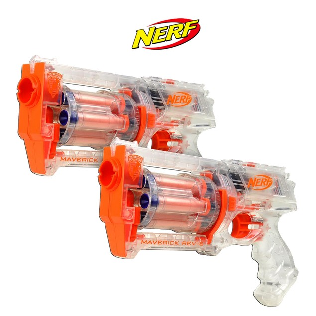 2-Pack Nerf N-Strike Maverick REV-6 Dart Gun w/Quick Firing Rotating Barrel