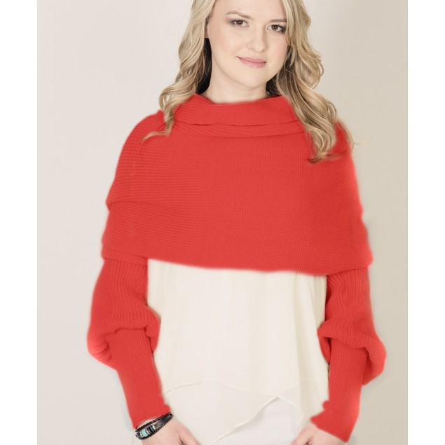 Bold Color Scarf Sweater - 4 Colors