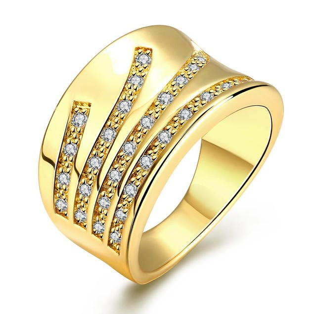 Gold Plated Five Jewels Line Ring