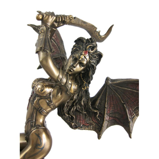 Gothic Bat Lady With Scimitar Statue Fantasy Fairy Statues