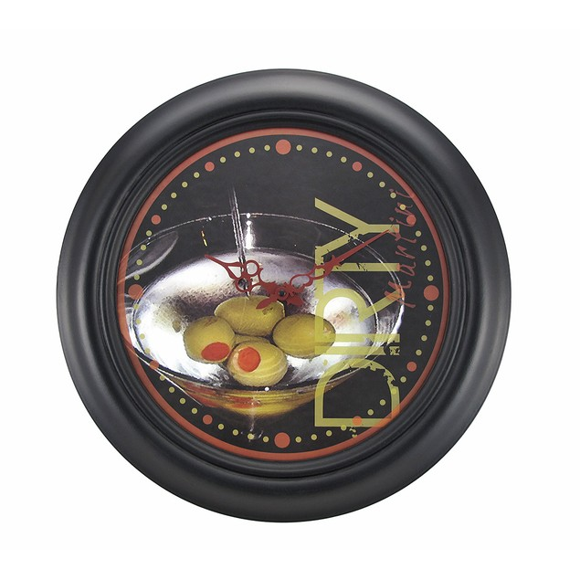 `Dirty Martini Time` Round Wooden Wall Clock 19 Wall Clocks