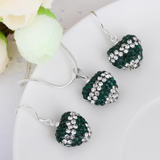 Multi-Pave Heart Drop Earring and Necklace Set - Multi Emerald