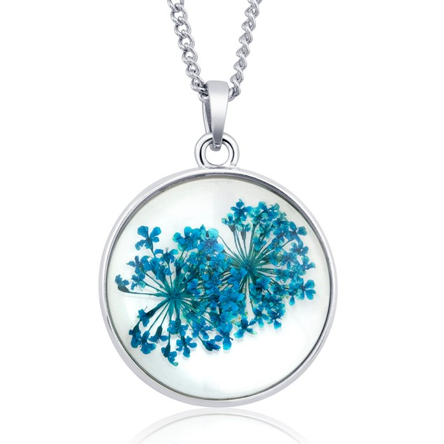 Pressed Dried Flower Glass Pendant Necklaces - Assorted Styles