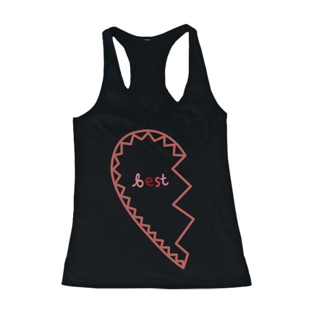 BFF Tank Tops Best Friend Matching Hearts Matching Shirts for Best Friends
