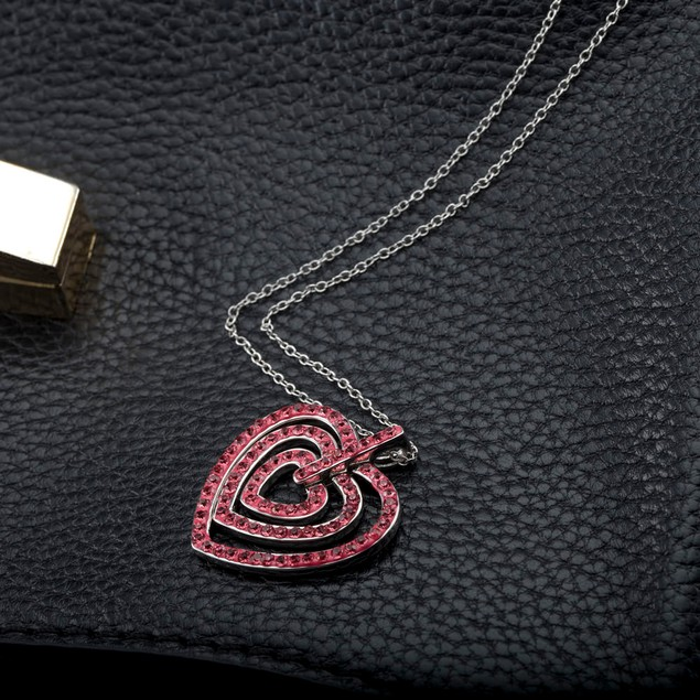 Crystal Pink Heart Necklace