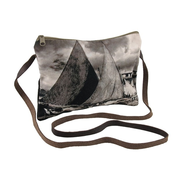 Sailboats And Cloudy Skies Sepia Tone Cross Body Womens Cross Body Bags