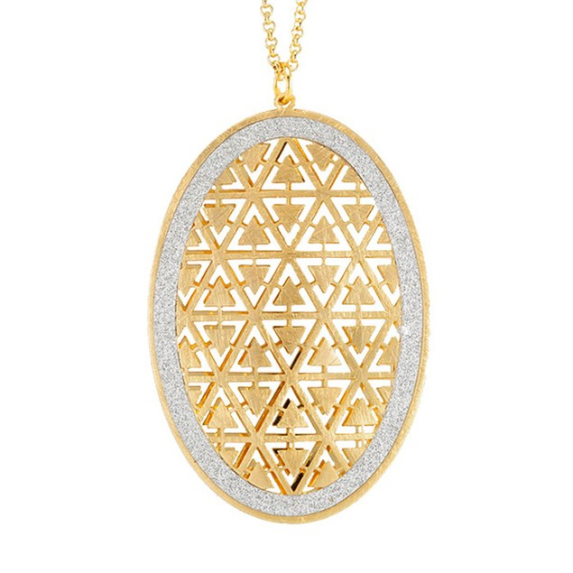 18kt Gold Plated Sterling Silver Glitter Necklace - Oval