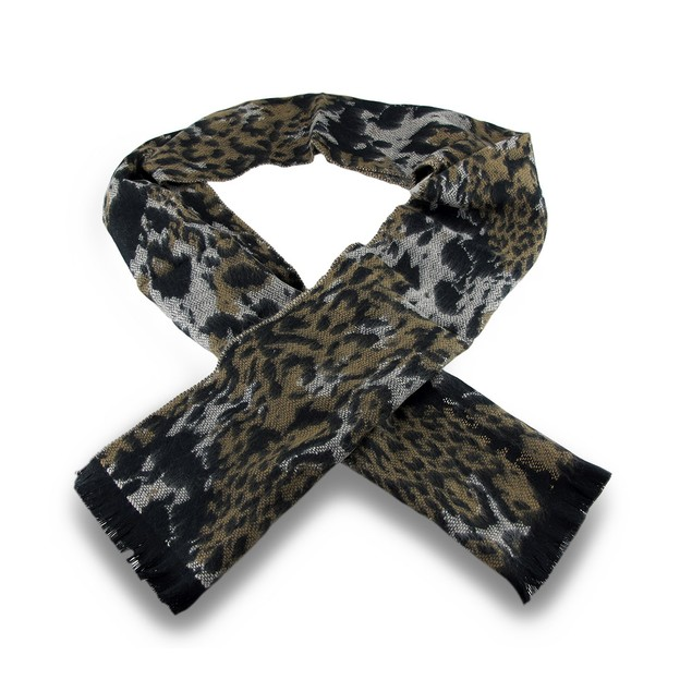 100% Cashmere Black / Brown Cheetah Print Fringed Womens Cold Weather