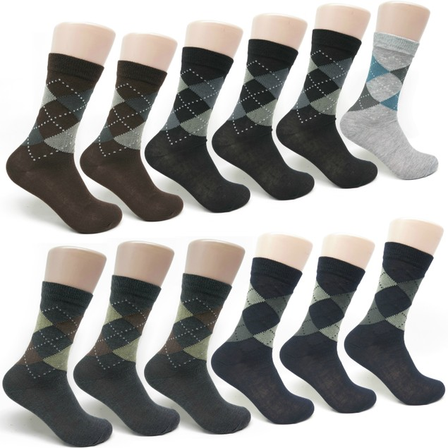 Men's 12-pack Cotton Argyle Printed Dress Socks