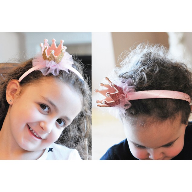 "Children's ""Queen For A Day"" Glitter Crown Headbands"