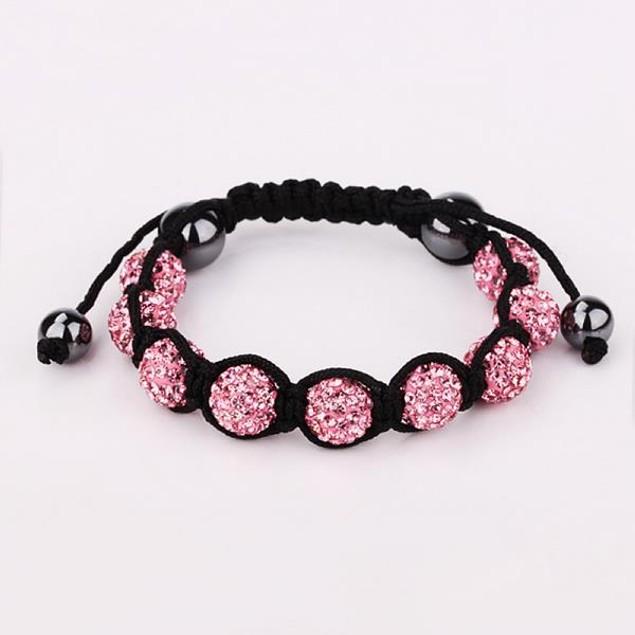 80's Glam Eight Beads Austrian Crystal Bracelet - Light Coral