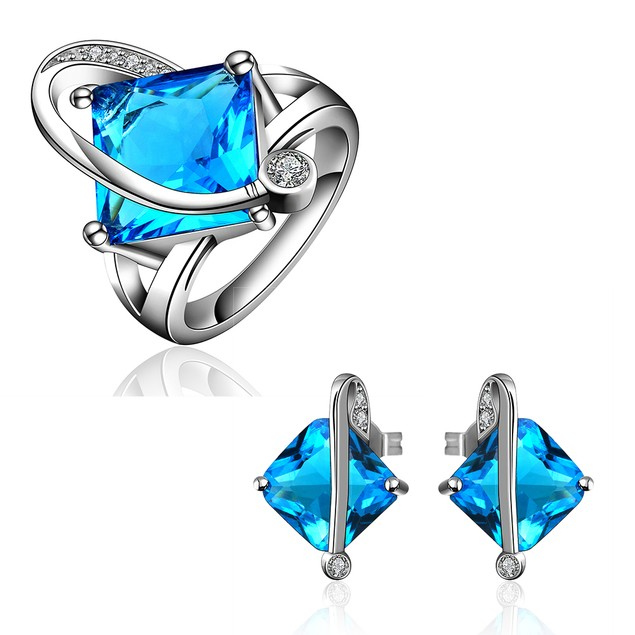 Geometric Stone Ring and Earring Imitation Sapphire Austrian Crystal Set