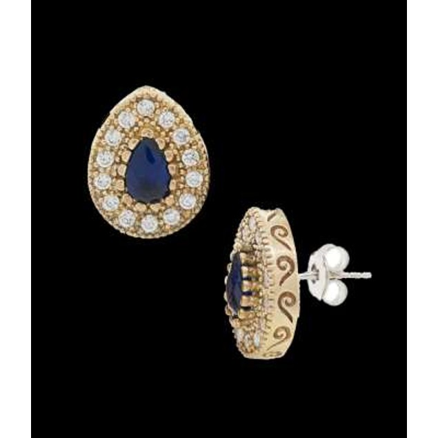 Ottanic Earings With Cz Stones Crafted From .925 Sterling Silver-Dark Blue