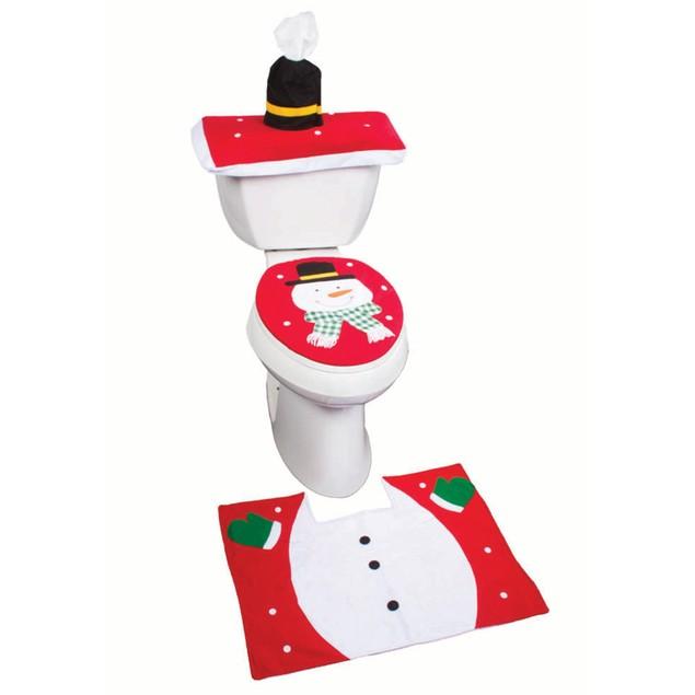 Christmas Bathroom Set  Snowman Bath Set Bathroom Rug & Toilet Seat Cover