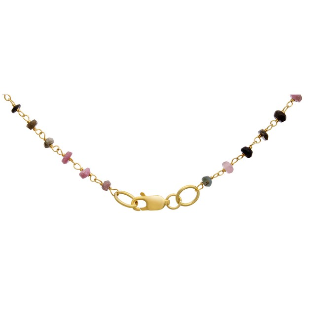 14k Yellow Gold 41ct Pink Tourmaline Y Bar Strand Necklace, 36 Inches