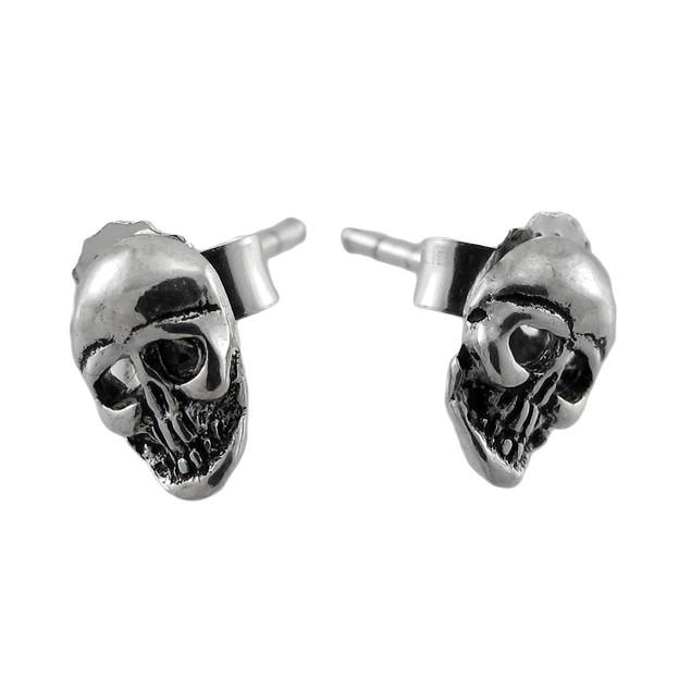 Polished Sterling Silver Skull Stud Earrings Mens Stud Earrings