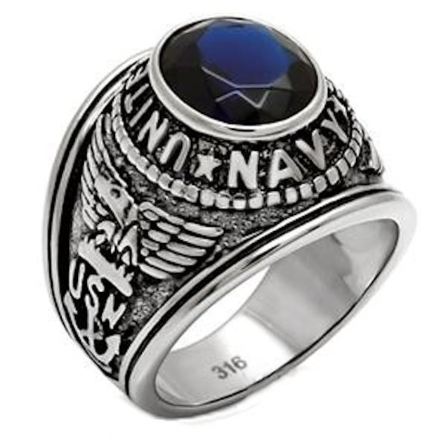 """Men's Stainless Steel """"United States Navy"""" Sapphire Blue Ring"""