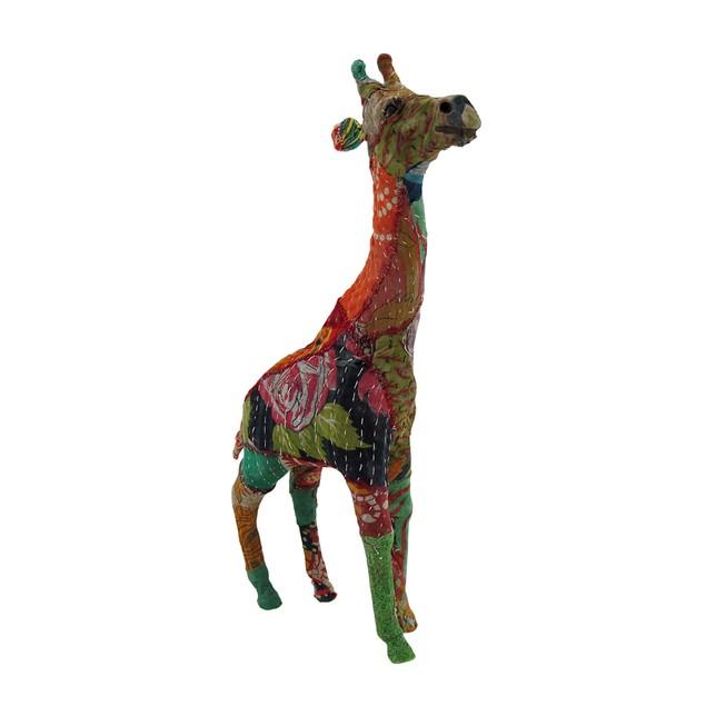 Vintage Sari Fabric Wrapped Paper Mache Giraffe Sculpture 17 in.