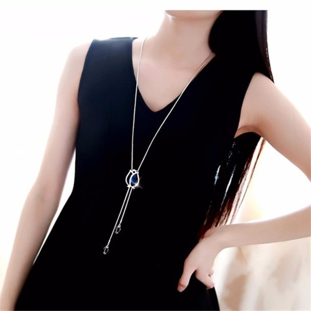 Magical Tulip Diamante Encrusted Exquisite Long Chain Necklace