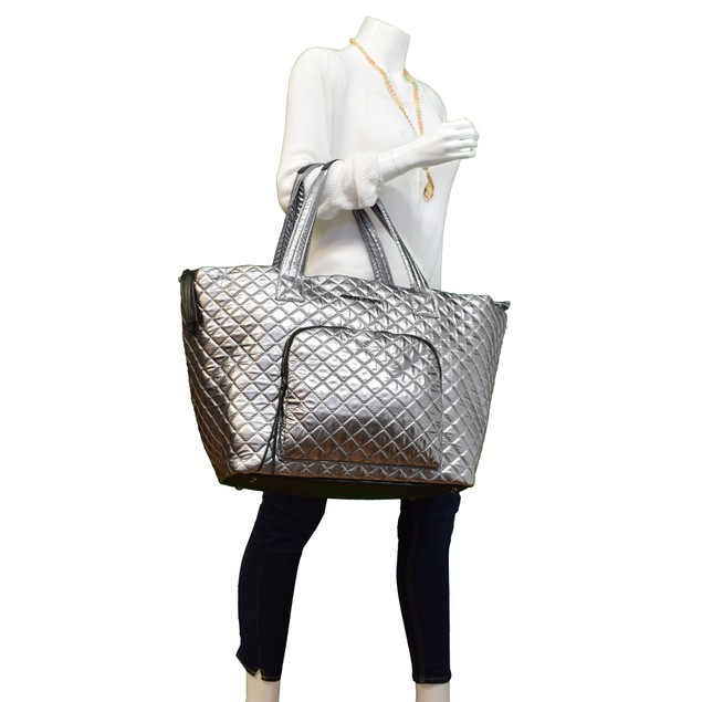 Adrienne Vittadini Metallic Quilted Nylon Tote