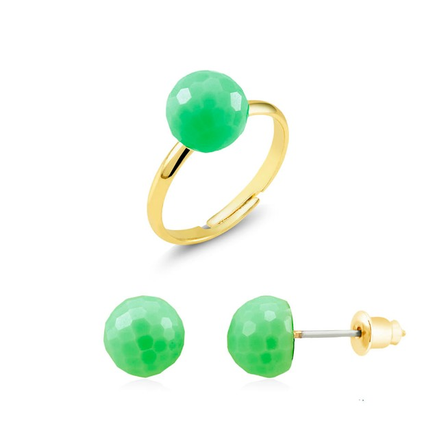 Gold Plated Candy Colored Earrings & Ring Set - 3 Colors