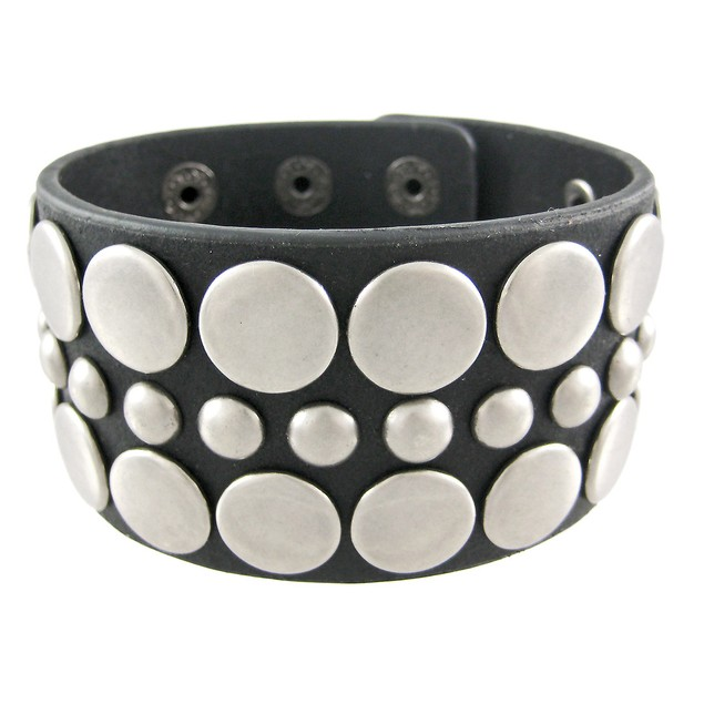 Black Distressed Leather Wristband W/ Antiqued Mens Leather Bracelets
