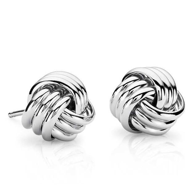 Designer Inspired Sterling Silver Diamond-Cut Love Knot Earrings