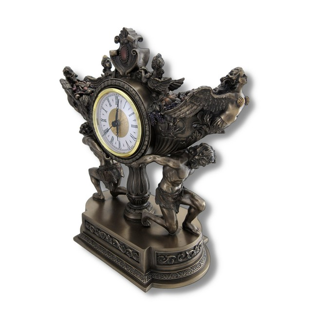 Bronzed Strong Men Carrying Vessel Of Harvest Desk Clocks
