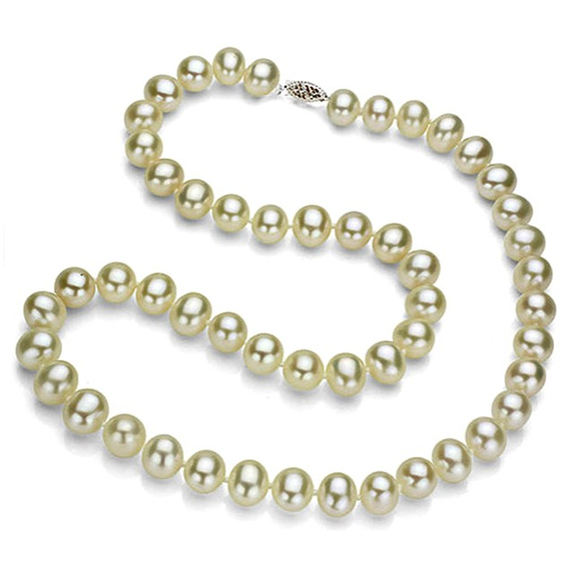 Genuine 9.5-10mm White Freshwater Cultured Pearl Necklace