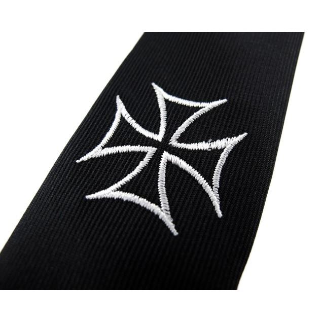 Embroidered Iron Cross Skinny Necktie Mens Neckties