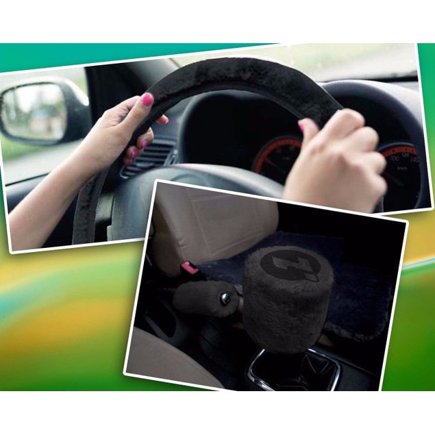 Zone Tech Black Plush Car Steering Wheel Brake Gear Shift Plush Cover