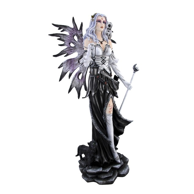 Winter Fairy With Snowy Owl And Black Cat Statue Statues