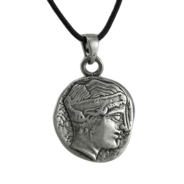 Greek Goddess Hera Double Sided Pendant W/ Cord Womens Pendant Necklaces