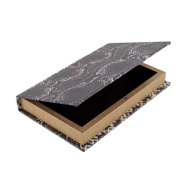 Snake Print Faux Leather Book Secret Stash Box Decorative Boxes