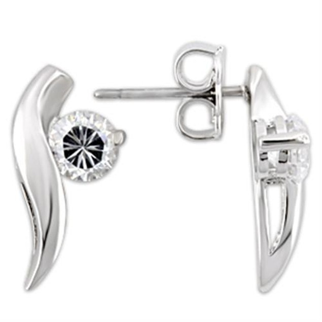 Ladies 1.58ct Cz Stud Earrings Sterling Silver