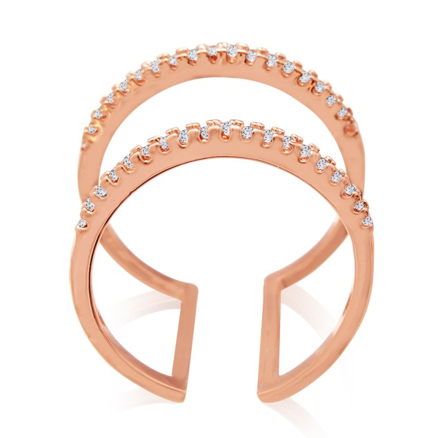 Rose Gold Micropave Crystal Spacer Ring
