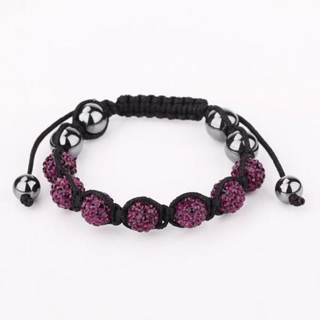 80's Glam Six Beads Austrian Crystal Bracelet - Dark Lavender