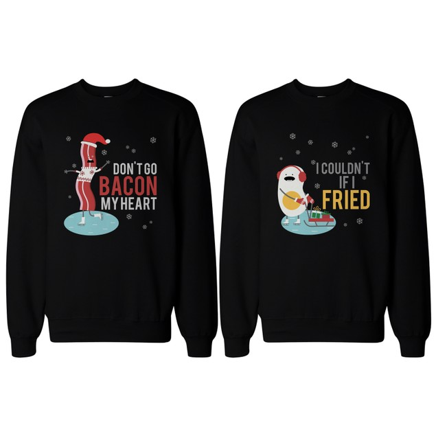 Bacon and Egg Couple SweatShirts Funny Graphic Sweaters for Winter