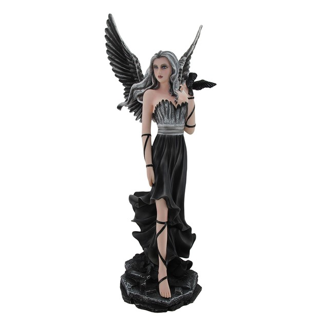 Gothic Dark Angel Fairy And Crow Statue Statues