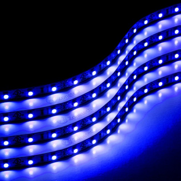 Zone Tech 4x Blue 30cm LED Stage Flexible Waterproof Lighting Light Strips