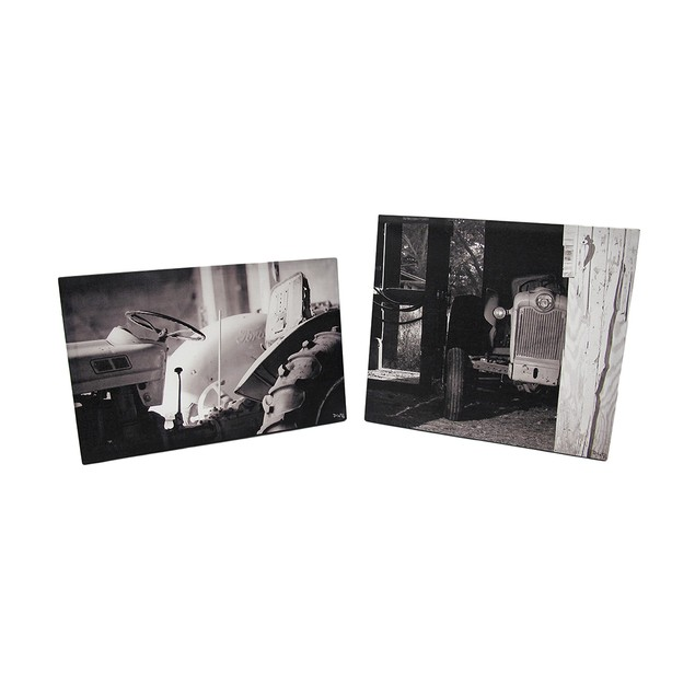 Black And White Vintage Tractors Printed Canvas Prints