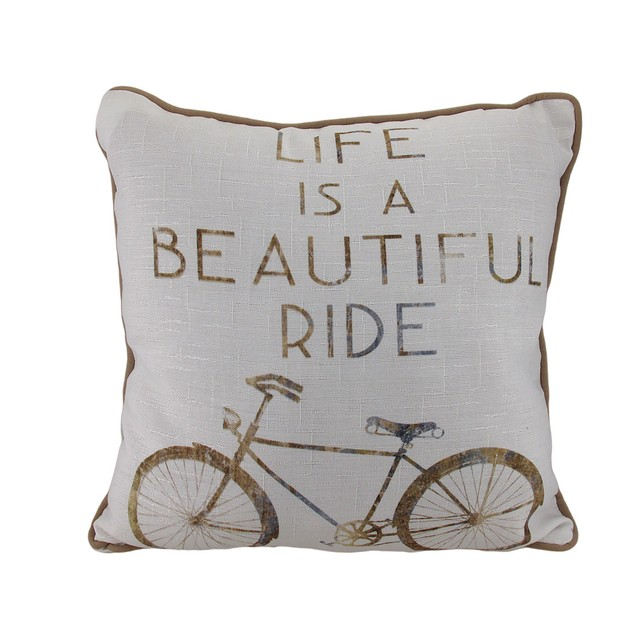 Life Is A Beautiful Ride Bicycle Theme Throw Throw Pillows