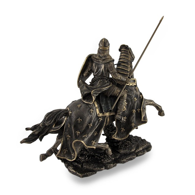 Armored Medieval Knight On Horse Bronzed Statues