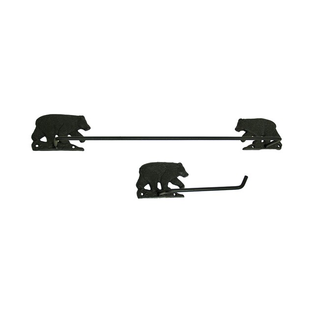 2 Pc. Black Bear Rustic Toilet Paper Holder And Towel Racks