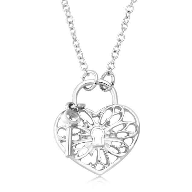 Designer Inspired Heart & Lock Necklace