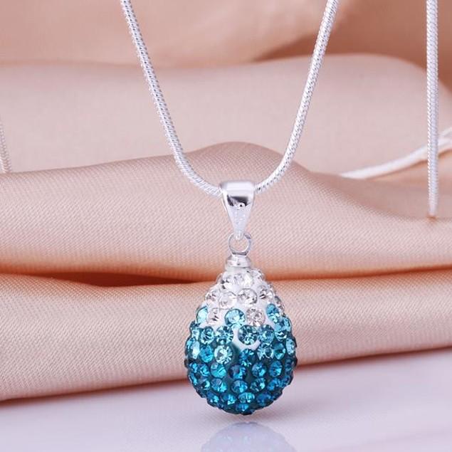 Classic Austrian Stone Necklace - Light Blue